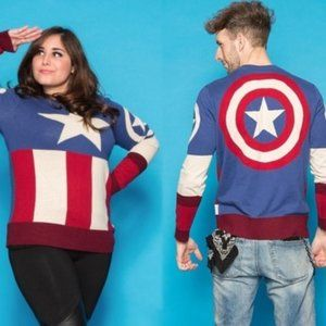 Marvel Captain America Uniform Sweater NEW Size L